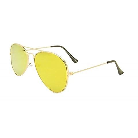 Yellow Unisex Flat Lens Aviator Style Sunglasses 1980s Fashion Metal Farme Gold Rim eyewear world eye
