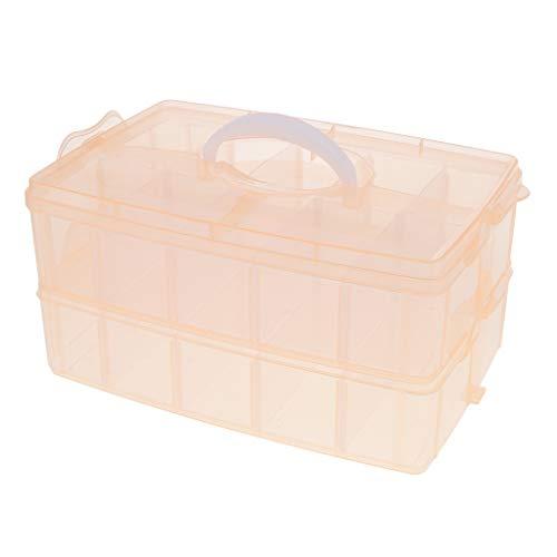 MagiDeal Boîte de Rangement Multifonctionnel Transparente en PP Plastique avec 30 Compartiments Amovibles et Poignée Portable - Orange
