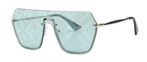 Sonnenbrille Große Marken Sonnenbrillen Mode Für Frauen Die Hälfte Aus Metall Rahmen Luxus Quadratische Sonnenbrille Schreiben Spiegel Beschichtung Sommer Gläser Grün