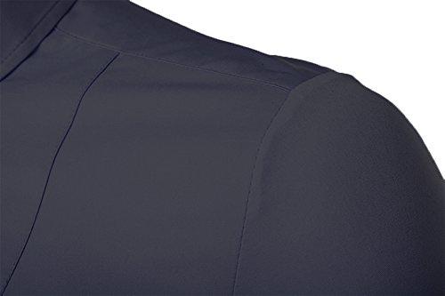 Kuson Herren Business Hemd Slim Fit für Freizeit Hochzeit Reine Farbe Hemden Langarmhemd Marineblau