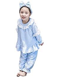 Pijamas de vellón de la muchacha Set Winter Warm Sleepsuit Homewear Ropa de dormir Diadema + Top + Pant 3 piezas Conjunto de ropa