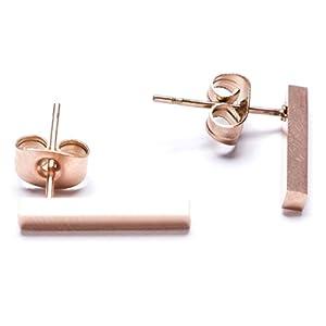 Happiness Boutique Damen Stab Ohrstecker in Rosegold | Kleine Ohrringe im Zarten Design Minimalist Schmuck aus Titan