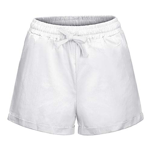 KPILP Frauen Breite Beinhosen Plus Größe Tasche Verband Solide Shorts Laufen Sportschlauch Sommer Weiche Outwear(Weiß,EU-46/CN-3XL)