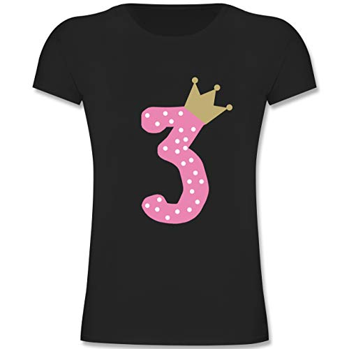 Geburtstag Kind - 3. Geburtstag Krone Mädchen - 104 (3-4 Jahre) - Schwarz - F131K - Mädchen Kinder T-Shirt -