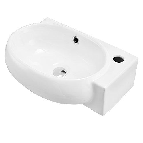 [neu.haus] Lavabo in Ceramica (42x28cm) Bianco per Il Montaggio al Muro per WC d´Ospiti