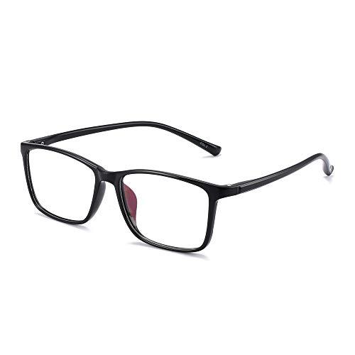 JM Retro Licht TR Rechteckig Optischer Rahmen RX-fähig Brillen Gläser Damen Herren Schwarz