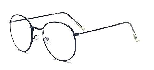 ALWAYSUV Modische Runde Schwarz Rahmen Brillenfassung Klare Linse Brille Nerdbrille
