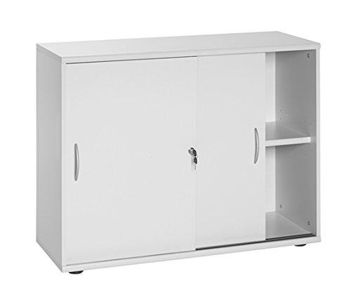 Büroeinrichtung Büromöbel Büro Grau Eckschreibtisch Bürocontainer Aktenschrank Regal Ordner Schrank mit Schiebetüren abschliessbar (Schiebetürenschrank 76 cm)