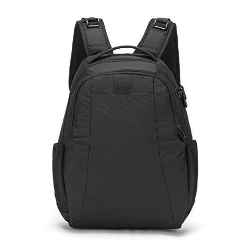 Pacsafe Metrosafe LS350 Nylon Rucksack mit Anti-Diebstahl Details für Damen und Herren, Daypack mit Diebstahlschutz, Tasche mit Sicherheits-Features, 15 Liter, Schwarz/Black -