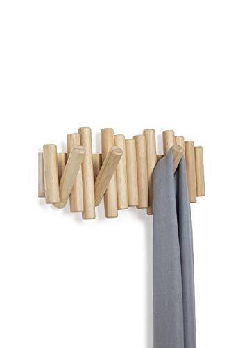 Umbra Picket 5 Garderobenhaken zur Befestigung an der Wand, verbindet nützliches und Kunst, Abgeschrägte Pinienholzdübel, natürliches Finish -