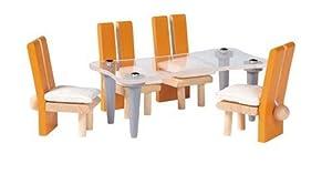 PlanToys 7443 - Muebles de comedor moderno en miniatura (madera, 17,8 x 6,4 x 9,5 cm, no necesita pilas)