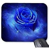 Pretty blau Rose Muster, Büro Computer Zubehör Gummi Rechteck Maus Pads