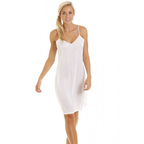 Camille Womens Ladies White Nightwear Chemise Full Slip