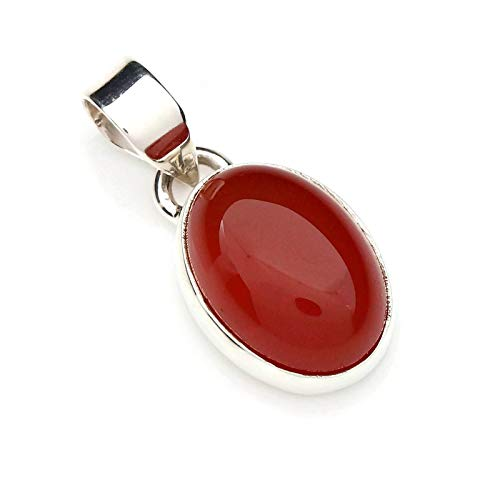 Kettenanhänger Medaillon Silber 925 Sterlingsilber Karneol orange rot Stein 11 mm x 25 mm (MAH 81) (Orange Braut-schmuck-set)