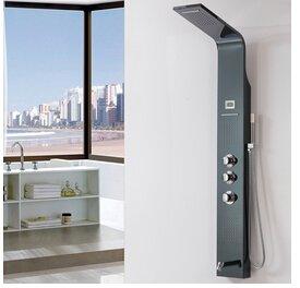 Galvanik Retro Wasserhahn Öl eingerieben Bronze Badezimmer Dusche Overhead Panel Square Massagedüsen Wasserfall Spalte Tower, Schwarz -