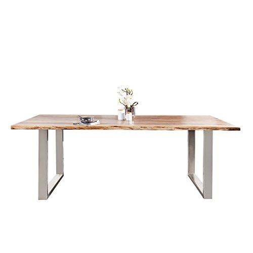 Massiver Baumstamm Esstisch MAMMUT 180cm Akazie Massivholz Industrial Look Kufengestell Esstisch mit 3,5 cm dicker Tischplatte