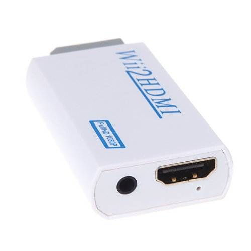 KOBWA Adaptateur Convertisseur Vidéo Full HD Adaptateur Convertisseur pour Wii Vers HDMI 720P/1080P Wii Vers HDMI Sortie Jack Audio 3,5mm