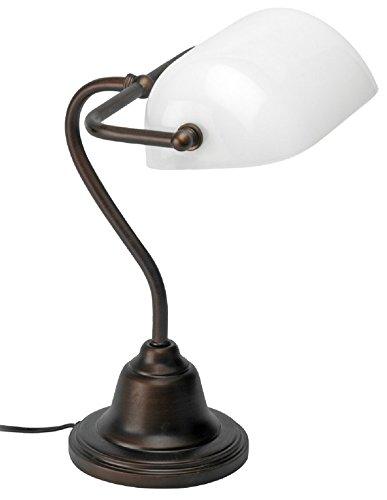 Mathias 3450895 Lampe Banquier Fer/opaline H36 L30 Métal, E27, 52 W