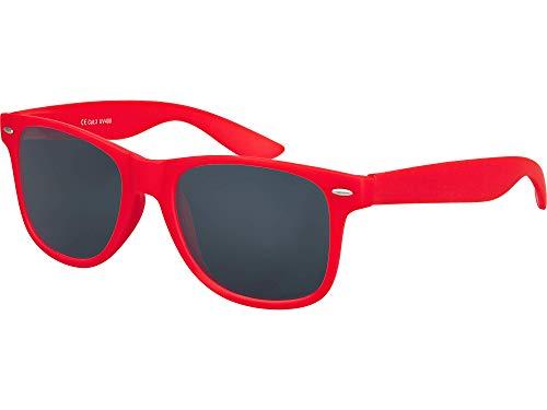 Balinco Hochwertige Nerd Sonnenbrille Rubber im Wayfarer Stil Retro Vintage Unisex Brille mit Federscharnier - 96 verschiedene Farben/Modelle wählbar (Rot - Smoke)