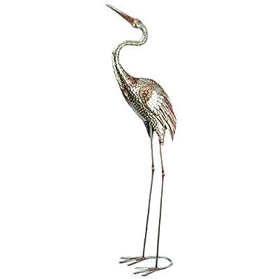 CasaJame Set of 2 Metal Silver Plated Cranes Birds Assorted H 129 cm Deco Garden