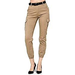 Elara Pantalon Cargo Femme Slim Fit Denim Chunkyrayan 1376-6 Beige-6-40 (L)
