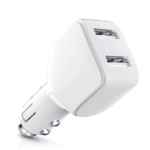 CSL - 24W / 4800mA High Power USB KFZ Adapter Dual-Port / Auto Schnellladeadapter (Zigarettenanzünder) | iSmart Technologie | 12/24V | Schutzelektronik / Überlastschutz | LED-Betriebsanzeige