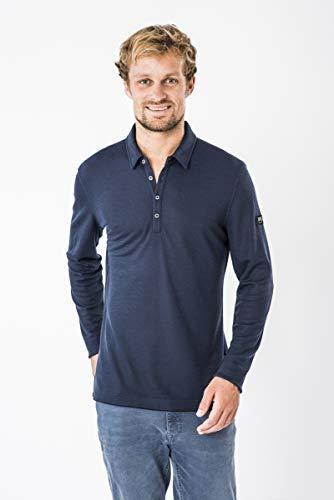 super.natural Herren Langarm-Polo-Shirt, Mit Merinowolle, M PIQUET LS POLO, Größe: XXL, Farbe: Dunkelblau -