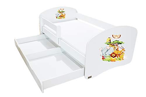 Clamaro 'Schlummerland' 140 x 70 Kinderbett mit Rausfallschutz und Aufkleber, mit Bettkasten auf Rollen, Matratze und Lattenrost, Kantenschutzleisten - Bett Farbe: Weiß, Motiv: 13 Dschungel -
