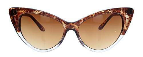 50er 60er Jahre Damen Retro Sonnenbrille Cat Eye Katzenaugen Rockabilly Modell FARBWAHL KE (Marble / Braun)