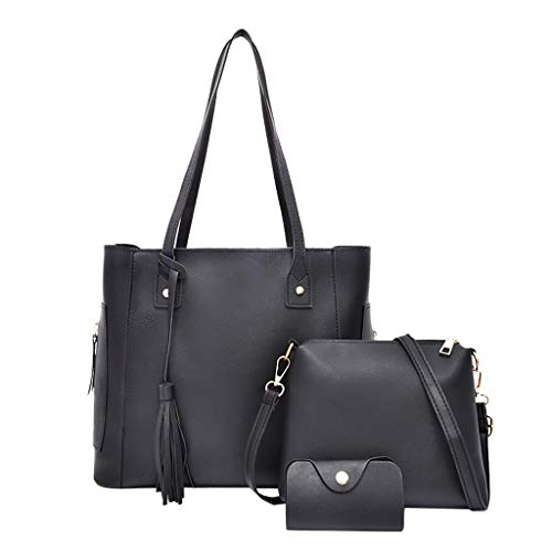 Fell Satchel Handtasche (Tohole Damen Faux Leder UmhäNgetasche Business Handtasche Frauen Satchel Handtaschen Taschen Moderne Schultertasche Handbag (schwarz,3PC))