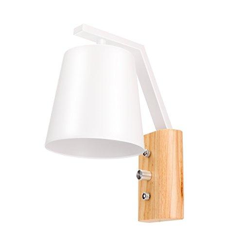 Lampe de luminaire en bois en bois, ONEVER Ensemble d'éclairage mural simple et simple en style nordique avec interrupteur d'alimentation pour chambre à coucher, salon, salle de bébé, chambre à coucher universitaire, table basse, bibliothèque, prise CA 220V E27 (pas d'ampoule)