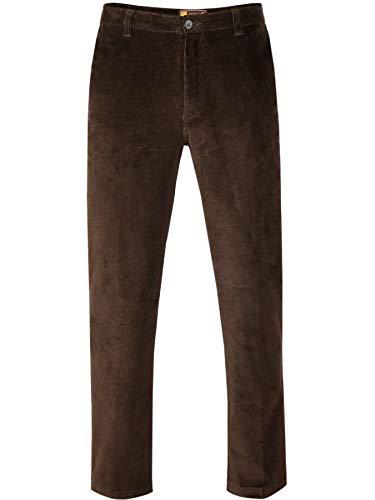 PAPADAY Herren Stretch Cordhose, Flatfronthose aus Baumwoll-Feincord-Siennabraun-50