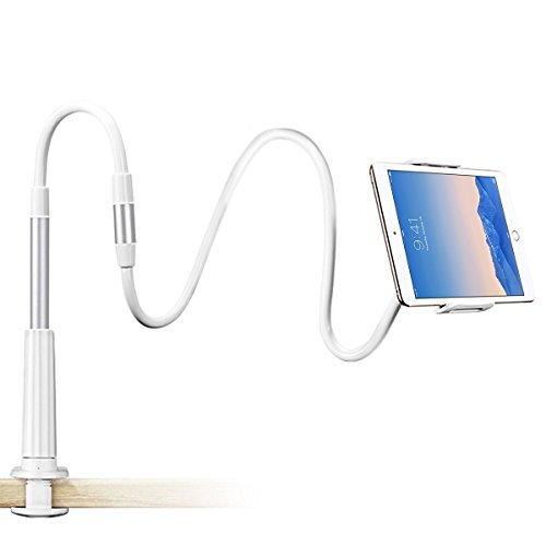 Schwanenhals Handy Halterung, Ubegood iPad Schwanenhals Halterung Halter Einstellbare Halter Tablets Telefon halterung 360 ° Drehen für 4-11 Zoll Android und Apple Device (Weiß) Test