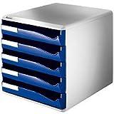 Leitz Schubladenbox, 5 Schübe, DIN A4, Polystyrol, lichtgrau/blau
