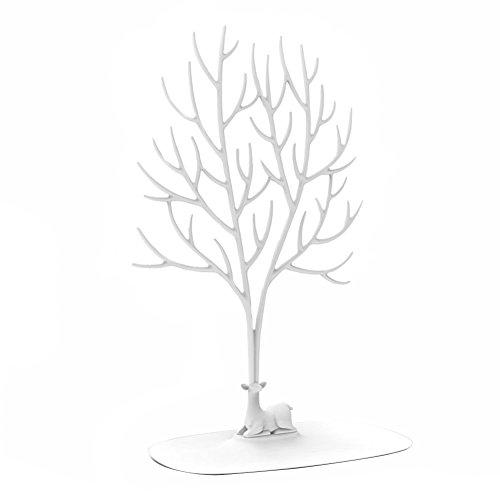 Schmuck-Display/Ständer/Halterung - Sika Deer Baum Schmuck Halter Schmuck Organizer für Ringe Halskette Geburtstag Geschenke Weihnachts Schmuck Ständer Rack Aufbewahrung, weiß, L (Halskette Baum Kleine Mädchen)