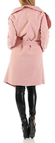 Damen Mantel knielang, Trenchcoat mit Taschen und Taillengürtel ( 542 ) Rosa