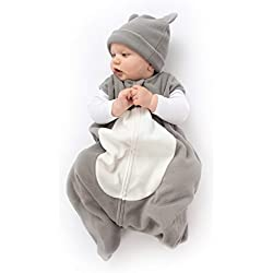 Cuddle Club Sacos de Dormir de Forro Polar para bebé - Pijama bebé Tipo Saco de Dormir - Pijama Manta bebé para recién Nacido-BearWBGrey/Whites