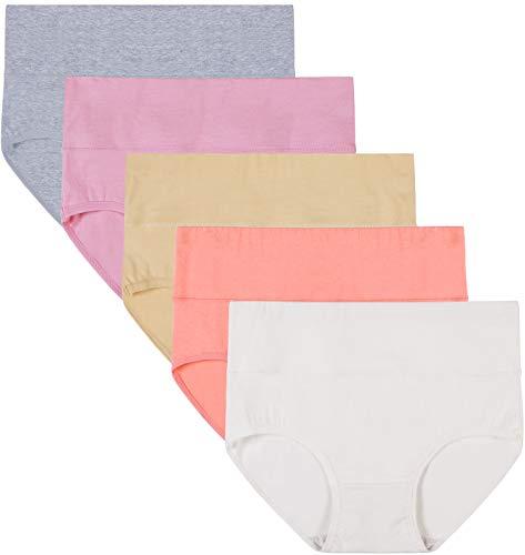 INNERSY Damen Unterwäsche Hohe Taille Full Briefs Tummy Control Cotton Höschen Abnehmen Solid Color Knickers 5 Pack (XL-EU 44, Color 5Y)