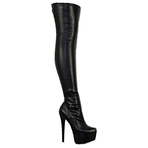 Fashion Thirsty Damen - Overknee Stiefel mit Stretch & High Heels - Schwarzes Stretch-PU - (Stiefel Für Damen Sexy)