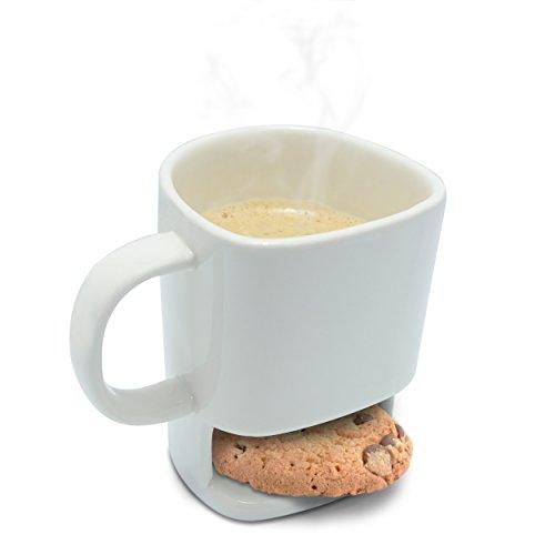 Tazza in ceramica con vano porta biscotti - motivo