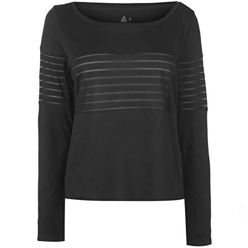 Reebok Rete Maglia a Maniche Lunghe Donna Maglia Nera Maglietta Athleisure Activewear - Nero, UK 12 (Medio)