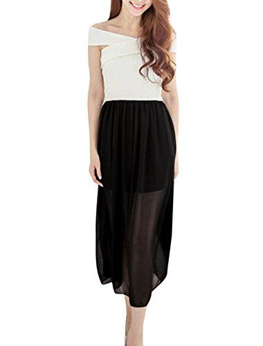 Damen Crossover Design Schulterfrei Chiffon Geflickt Gummibund Kleid Weiß