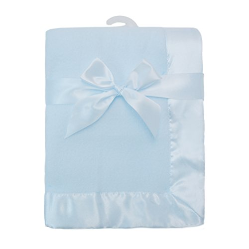 American Baby Company Fleece Decke mit Satin Trim, blau (Trim Decke Baby)