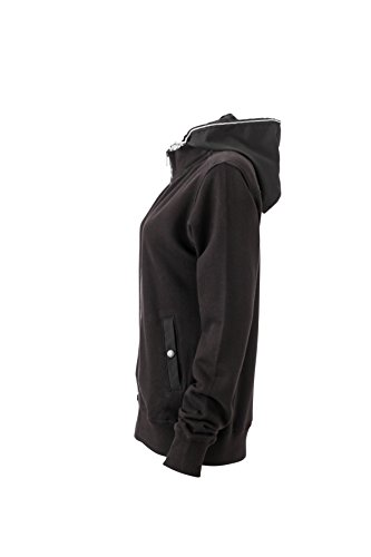 James & Nicholson Damen Hooded Jacket Sweatshirt Schwarz (Black)