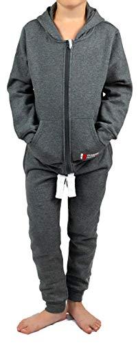Gennadi Hoppe Kinder Sweat Jogginganzug Sportanzug Trainingsanzug, dunkelgrau, 158/164