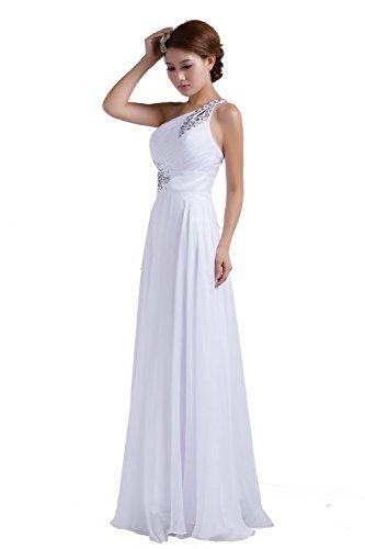 PLAER femmes oblique sangle diamant robe robe de mariée de mariée Cocktail robe de soirée sexy Blanc