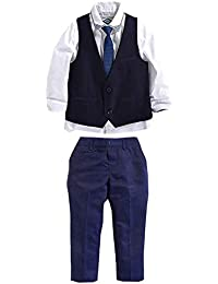 Carolilly Ensemble Costume Cravate Enfant Bébé Garçon 3 Pcs Chemise à Manches Longues + Pantalon + Gilet Mariage Fête Cérémonie