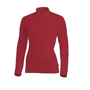 Medico Damen Ski Shirt, 100% Polyester, Fleece, langarm, Reißverschluss (G61 Red, 38)