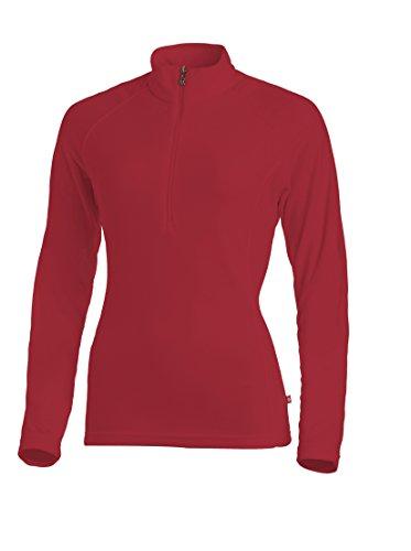 Medico Damen Ski Shirt, 100% Polyester, Fleece, langarm, Reißverschluss (G61 Red, 38) (Langarm-fleece-shirt)