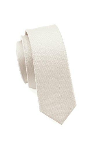 PARSLEY Extra schmale Krawatte, 24 verschiedene Farben, reine Seide, 4 cm, matt, Handarbeit, Skinny / Slim Tie, Business & Alltag (Weiß) (Skinny Weiße Tie)